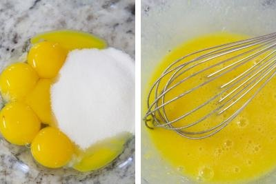 2 photos side by side one with sugar and egg yolk in a bowl and one with the 2 whisked together