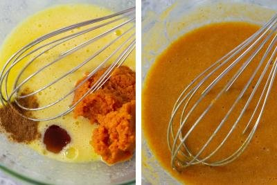 2 photos side by side one with egg mixture, pumpkin puree, pumpkin spice, vanilla extract in a bowl and the other photo it whisked together