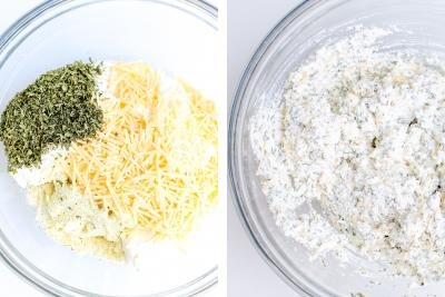 2 photos side by side of the parmesan, ricotta, parsley, garlic salt mixture in a bowl