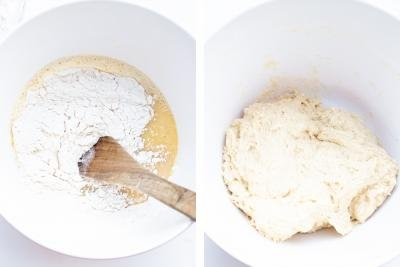 2 photos side by side one with flour being added into a mixture and one with dough in a bowl