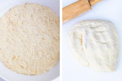 2 photos side by side one with dough in a bowl and one with dough on a cutting board