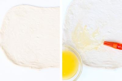 2 photos side by side one with dough rolled out on a cutting board and one with the dough being brushed with melted butter