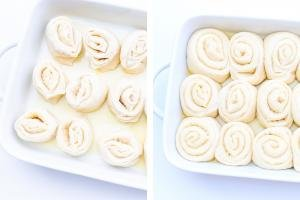 2 photos side by side both photos of Starbucks Morning Buns in a baking pan