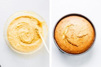 2 photos side by side one with the bowl with batter and one with a cake pan with the cake