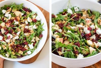 2 photos side by side of Beet and Goat Cheese Arugula Salad in a large bowl