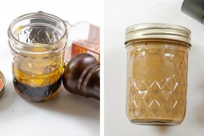 2 photos side by side of Beet Salad Dressing in a jar one not mixed together and one is