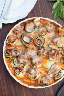 Zucchini Roll-Ups in a serving tray