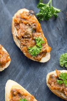 Hummus Eggplant Canapés on a cutting board