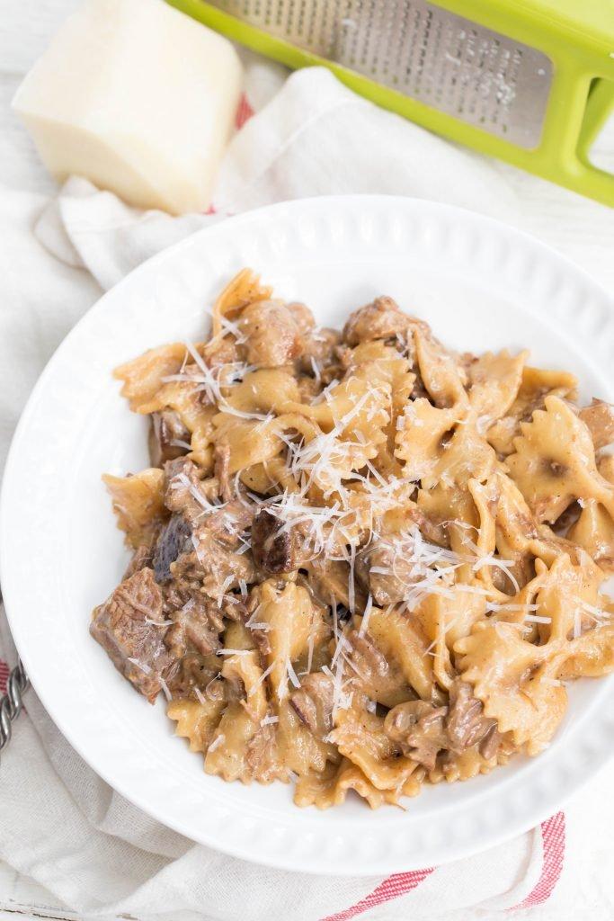 Beef Stroganoff Pasta on a plate