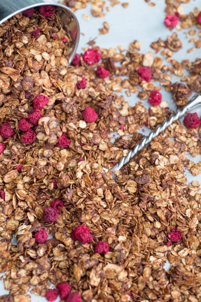 Chocolate Raspberry Granola on the table