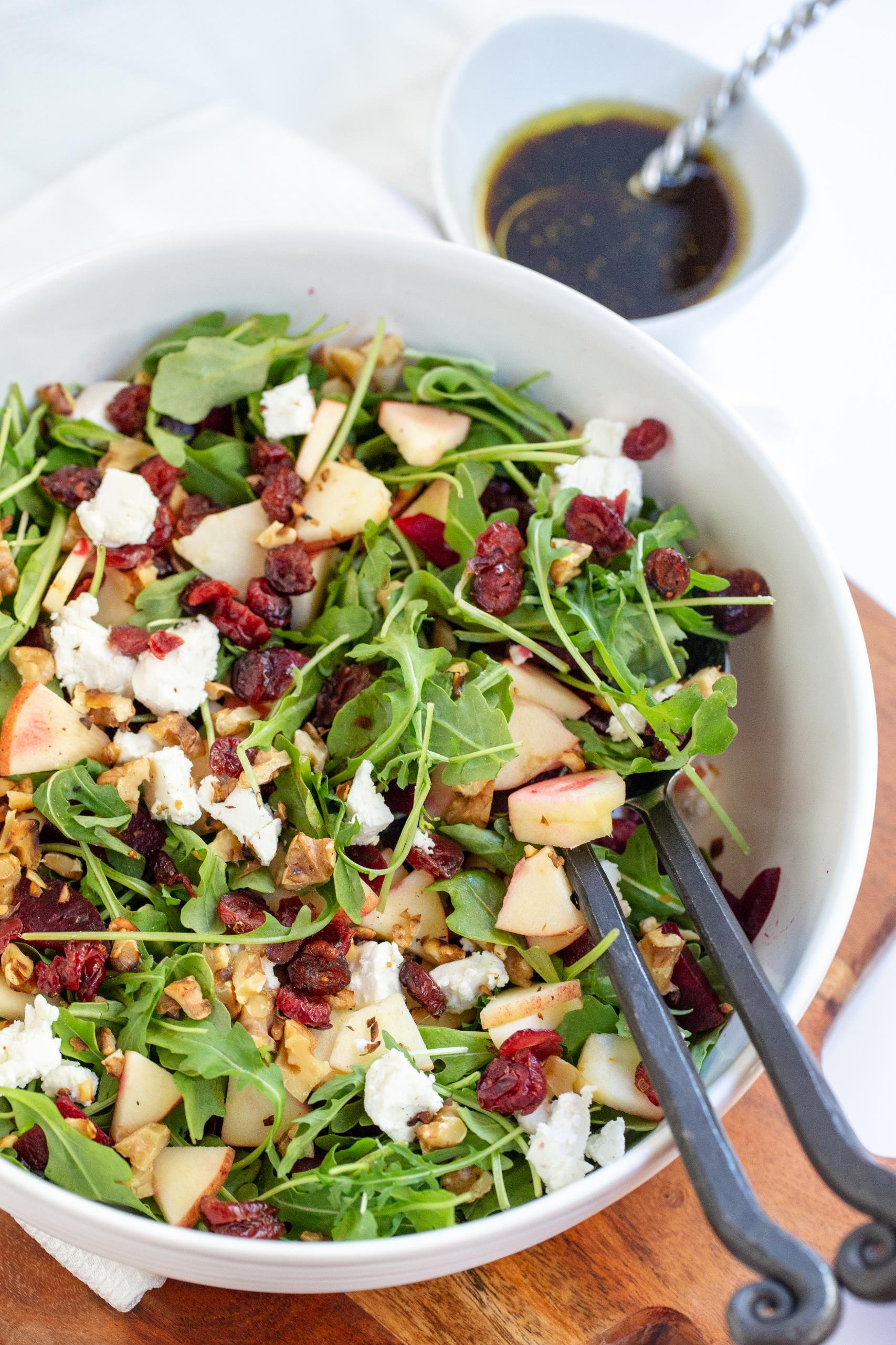 Beet and Goat Cheese Arugula Salad in a large bowl