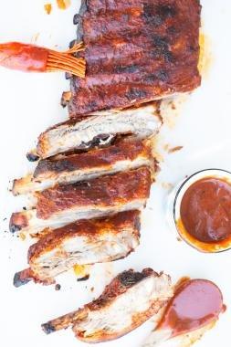 BBQ Ribs on a cutting board