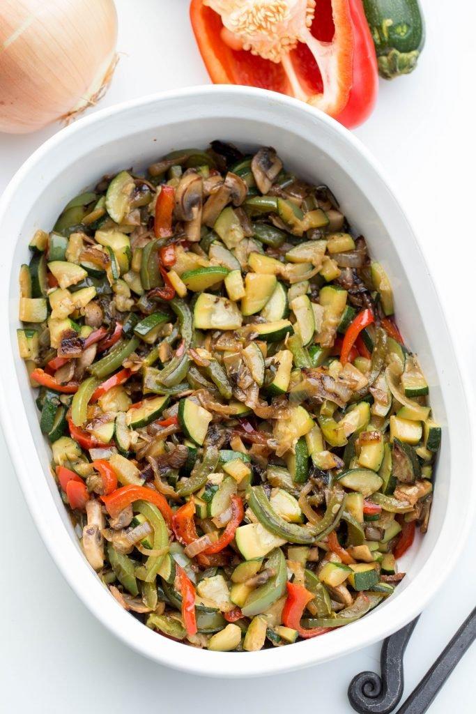 Veggies in a ceramic baking pan
