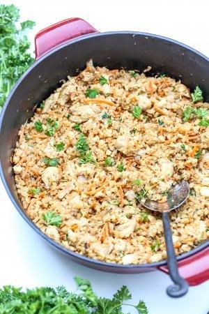 Creamy Cauliflower Rice in a cast iron pot