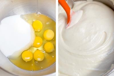 2 photos side by side one with eggs and sugar in a bowl and the other with the 2 whisked together