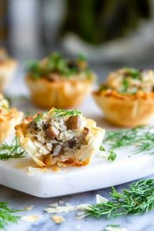 Fresh baked mushroom appetizer on a plate.