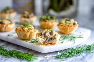 Freshly baked mushroom appetizers.