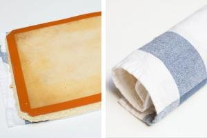 2 photos side by side one with the cake laid out on a kitchen towel and one with the Cake roll being rolled up