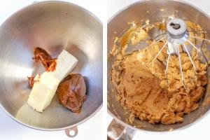 2 photos side by side one with dulce de leech and butter and one with the 2 whisked together