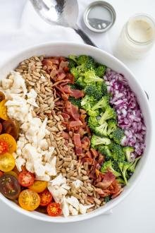 Bowl with salad ingredients.