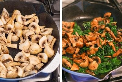 Mushrooms cooking in a skillet, another skillet has mushroom and spinach.