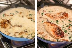 Skillet with cream, chicken and sauce.