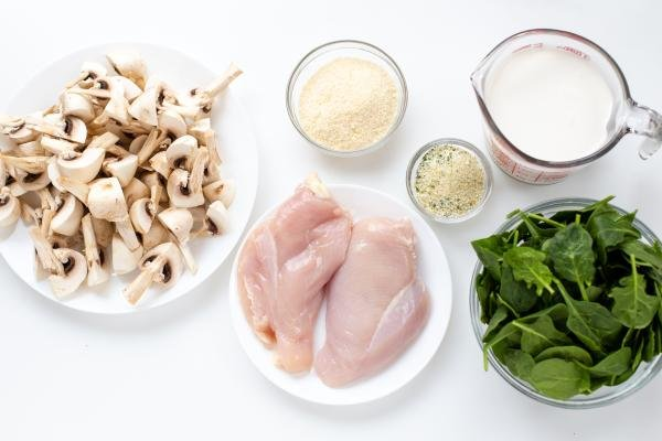 Ingredients for the recipe on a white board.