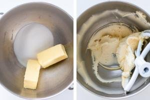 Mixing bowl with butter, same mixing bols with whisked butter and sugar.