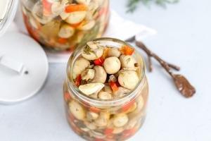 Marinated mushrooms in a jar