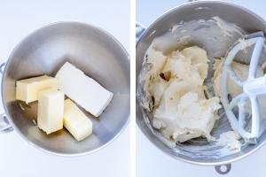 Mixing bowl with butter and cream cheese, whipped ingredients in bowl.
