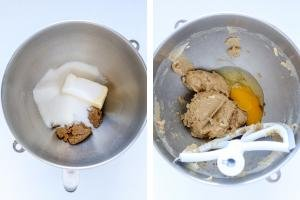 two mixing bowls, one with butter and sugars and another one with whisked ingredients.