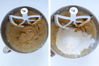 Two mixing bowl with cookie dough in a process.