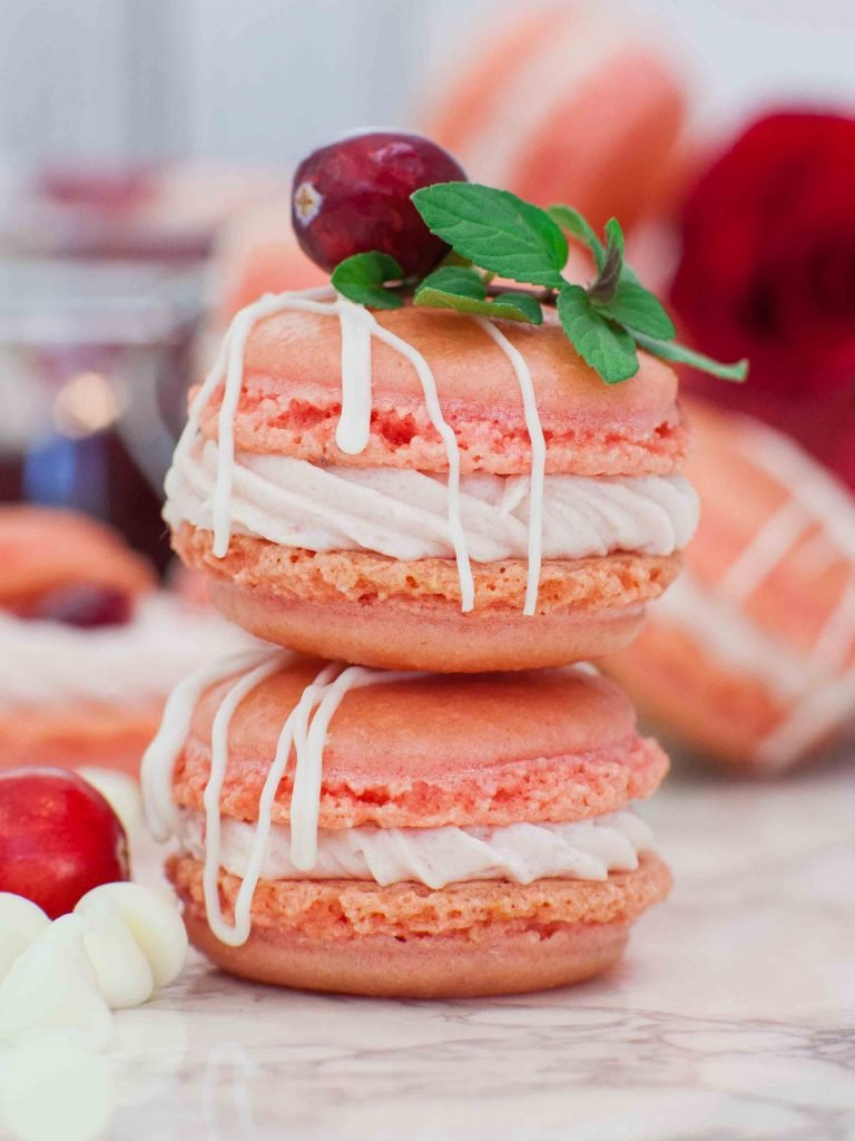CRANBERRY WHITE CHOCOLATE MACARONS MOMSDISH