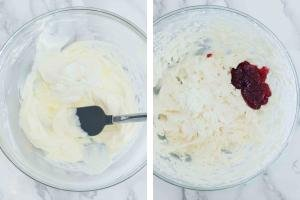 Bowl with cream, another bowl with cranberries sauce added,