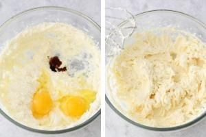 two bowls, one with eggs and one with whisked ingredients.
