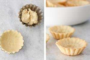 Tart shells with dough, second image baked tarts.