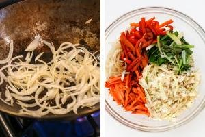 Wok with onion, bowl with sautéed vegetables