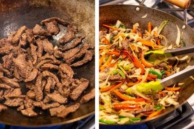 Wok with beef cooking, another wok with vegetables