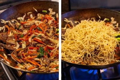 Wok dish with vegetables and another wok with yakisoba noodles.