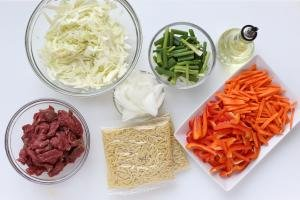 Ingredients for making Yakisoba