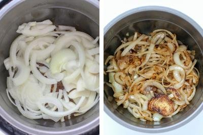 Two instant pot bowl, one with raw onion another golden onion.