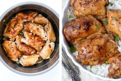 Chicken thighs inside instant pot, tray with rice and chicken.