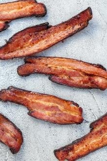 Crispy bacon on a baking tray