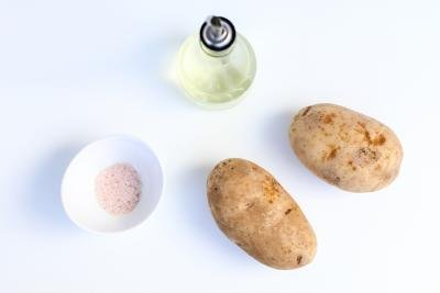 Ingredients on a tray for baked potato