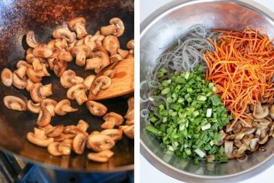 Mushrooms in a wok, bowl with ingredients