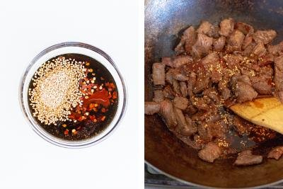 Sauce in a bowl, wok with beef and sauce