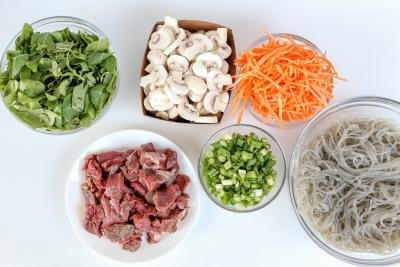 Ingredients for spicy Korean noodles