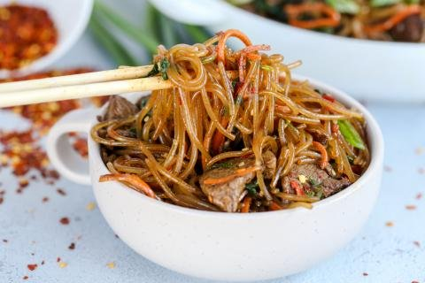 Korean spicy noodles in a bowl