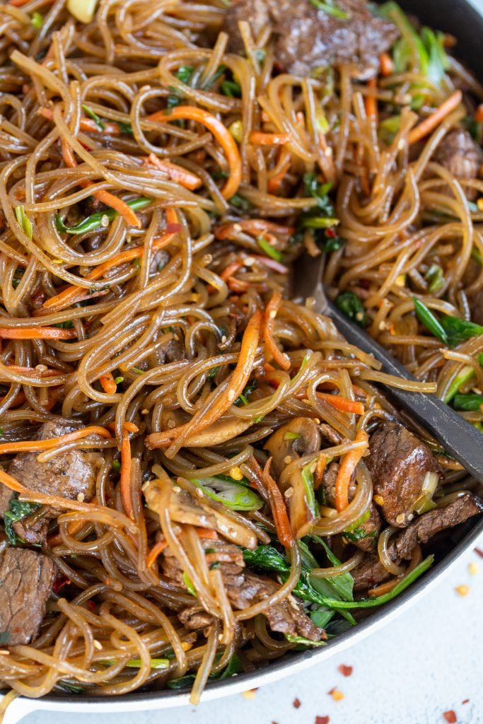 Korean spicy noodles in a dish