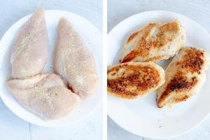 One plate with raw seasoned chicken, another plate with cooked chicken